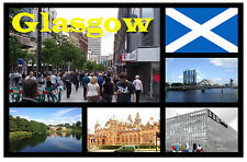 GLASGOW, SCOTLAND - SOUVENIR NOVELTY FRIDGE MAGNET - SIGHTS & FLAG - NEW - GIFT