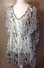 Grey Size XL Floaty Loose Fit Tunic Kimono Beach Cover Up Top 18/22