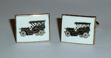 A PAIR OF 1960s MERCEDES-SIMPLEX CAR T-BAR CUFFLINKS WITH BLACK & WHITE ENAMEL