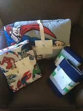 POTTERY BARN KIDS Justice League Full/Queen Quilt, Full Sheets Shams 7pc Set NEW