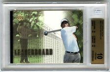 "TIGER WOODS~2001 UPPER DECK LEADERBOARD BGS-10 ""PRISTINE"" ROOKIE RC GOLF CARD#90"