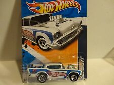 2011 Hot Wheels #160 White '57 Chevy Bel Air w/5 Spoke Wheels