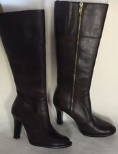 New Aldo Women's Brown Leather Tall Boots sz 35