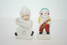 Two Vintage Japan Art Pottery Hand Painted Porcelain Musicians Playing Figurines