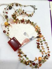 Long Necklace Carnelian Garnet Peridot Coloured Fresh Water Pearls Silk Thread