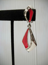"2.25"" silver red enamel crystal clip on earrings non pierced basketball wives"