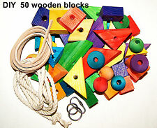 Wooden Wood Colored Blocks for Making Bird Parrot Toys many shapes with holes