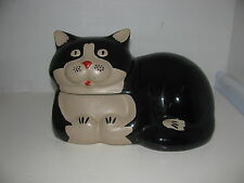 Rare Ceramic Pottery DCJ-18 1985 Black and Tan CAT COOKIE JAR Made in the USA