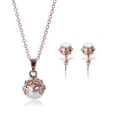 Gorgeous Pearl Gold Plated Stud Earrings Pendant Chain Necklace Girl Jewelry Set