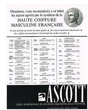 PUBLICITE  1969   ASCOTT  produits capillaires