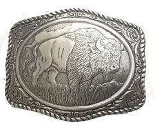 New Engraved Buffalo Belt Buckle Silver Western Mens Large Animal Cowboy Bison