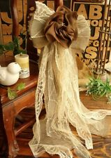 """BIG 27"""" Burlap Lace Bow Wedding Pew chair Aisle Shabby Rustic Chic *brown Flower"""