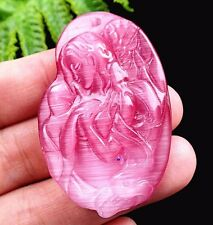 48x32x9mm pink cat eye gemstone carved woman Pendant bead B29363