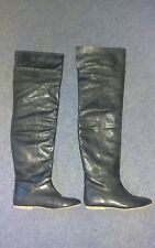 Black Leather ASOS Over the Knee Thigh Boots size 7