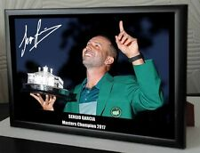 "Sergio Garcia Masters 2017 Golf Framed Canvas Tribute Signed ""Great Gift"" # 2"