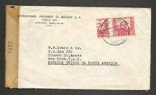 BOLIVIA Scott #261 1944 Bisected Chinchilla Squirrel 60c on censor cover to USA