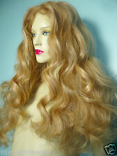 Blonde Mix 613/27 Curly Wavy Glueless Lace Wig Human Hair Remi Remy 24""