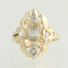 Vintage Diamond-Accented Ring 14k Yellow & White Gold Round Brilliant Cut .07ctw