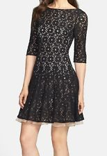 NEW $118 - BETSEY JOHNSON Lace Fit & Flare Dress, Black over Beige, Size 10