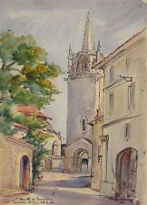 Vintage French Watercolor, Church in Provence, Sainte-Marthe de Tarascon, 1936