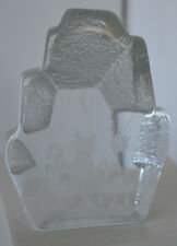 Etched Crystal Glass Paper Weight Kitten Kitty Cat Figure