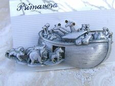 ADORABLE PEWTER-COLOR NOAH'S ARK BROOCH 1960'S- MARKED: A.J. CO-on back