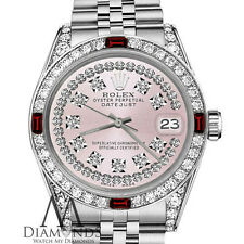 Ladies Rolex 26mm Datejust Pink String Dial Ruby & Diamond Vintage Style Watch