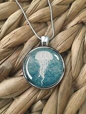 Stylized Jellyfish Beach Ocean Surf Glass Pendant Silver Chain Necklace NEW