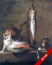 CURIOUS CAT LOOKING AT FISH CATCH & FILETS PAINTING PET ART REAL CANVAS PRINT