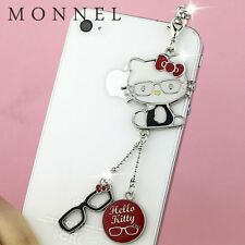 ip50 Cute Glasses Style Hello Kitty Cell Phone Charm Dust Proof Plug Cover