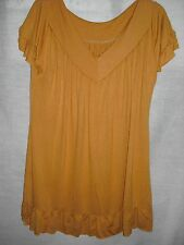 BNWOT ladies mustard yellow frill ruffle top tshirt  tunic sz 12 14 M medium
