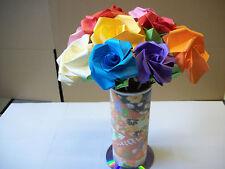 12 Ramo De Flores Origami Rosas/En Surtido De Color Liso