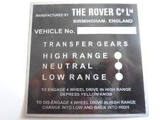 Typenschild Schild Landrover Schaltbild Schaltschema s20 land Rover Range ?