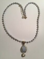 HSN Jay King - DRT - .925 Sterling Silver Mine Finds Lace Agate Pendant Necklace