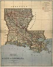 "United States MAP of LOUISIANA New Orleans circa 1876 Vintage Repro USA 24""x30"""