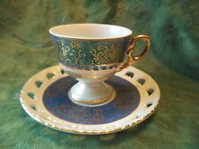 Vintage Porcelain Japan Blue Guilded  TEA CUP & SAUCER OPALESCENT RETICULATED