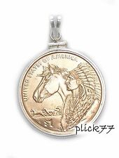 Sterling Silver Sacagawea Horse Coin Edge Pendant COIN INCLUDED
