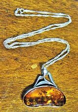 STERLING SILVER 925 MODERNISTIC BALTIC AMBER PENDANT & TWISTED ROPE CHAIN (ITALY