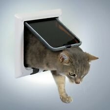 Cat Door Flap 4 Way Magnetic Lockable White Frame Silent Action by Trixie