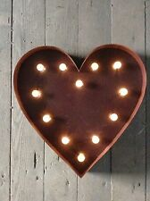 LED LIGHT CARNIVAL CIRCUS  RUST  METAL SYMBOL HEART - WALL OR FREE STANDING