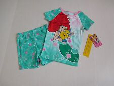 NWT 2pc Disney Princess Little Mermaid Short Sleeve Top Shorts Pajamas sz 4t