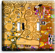 GUSTAV KLIMT TREE OF LIFE GOLD LEAF PAINTING DOUBLE LIGHTSWITCH WALL PLATE COVER