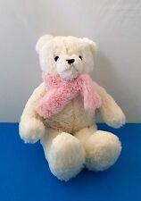 Brookstone NAP White Teddy Bear Pink Scarf Plush Stuffed Animal 15""