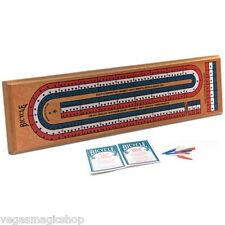 Bicycle Wooden Cribbage Board 3 Track w/ Plastic Pegs for 2-4 Players +Rules New