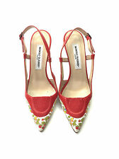Manolo Blahnik Print Panelled Leather Heels / Red / RRP: £680.00