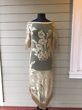 *STUNNING* CHLOE Calla Lilly Floral Sheer Fringe Dress Medium