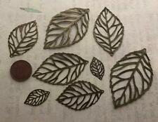 Old Stock Lightweight Bronze Tone Metal Leaf Leaves Charms Findings 8