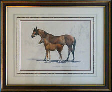 Watercolor Painting of Horses (Mare and Foal) by J. C. Ralston - Framed