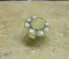 "ISHARYA STERLING SILVER CARVED QUARTZ ""FLOWER"" RING SIZE 6 HSN $199 SOLDOUT"