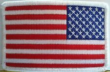 American Flag Embroidery Patch Iron-On White Border US United States Left